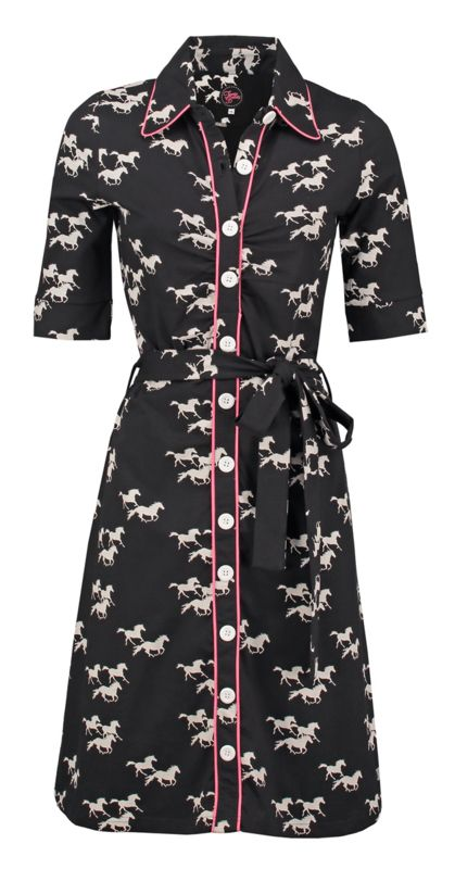 36dac5fa2797cb Tante Betsy dress victoria gallop black and white and pink jurk horses  print paarden zwart wit