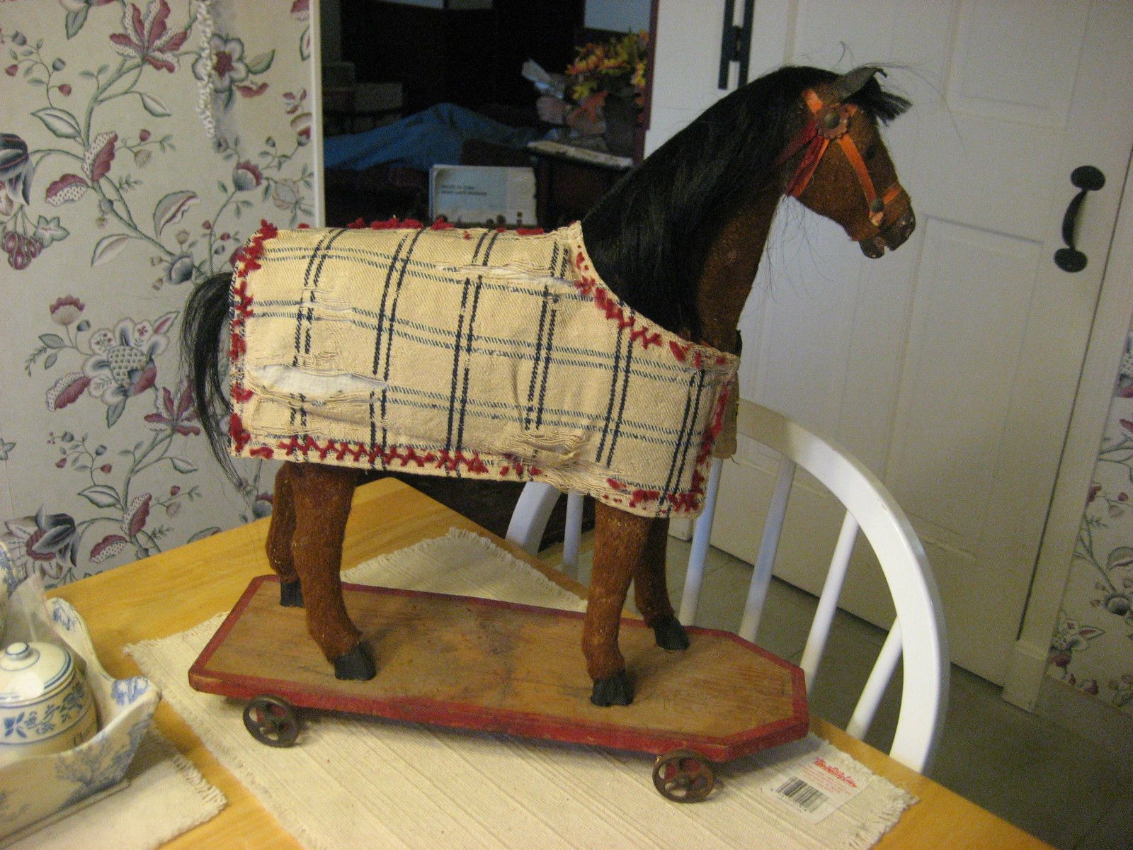 Vintage wooden music stand book stand by vintagearcheology on etsy - Late 1800s Early 1900s German Horse Pull Toy With Old Horse Blanket Saddle Bridl Ebay