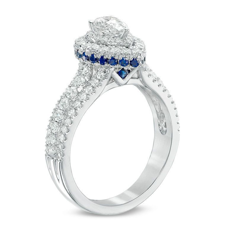 Vera Wang Love Collection 1 Ct T W Pear Shaped Diamond And Sapphire Double Frame Engagement Ring In 14k White Gold Zales Vera Wang Engagement Rings Pear Shaped Wedding Rings Emerald Engagement Ring Set