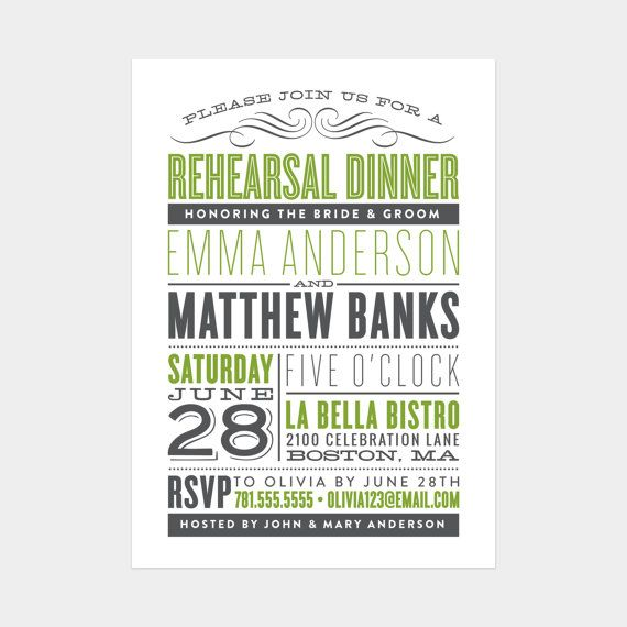 Old Fashioned Rehearsal Dinner Invitation on Etsy, $20.00