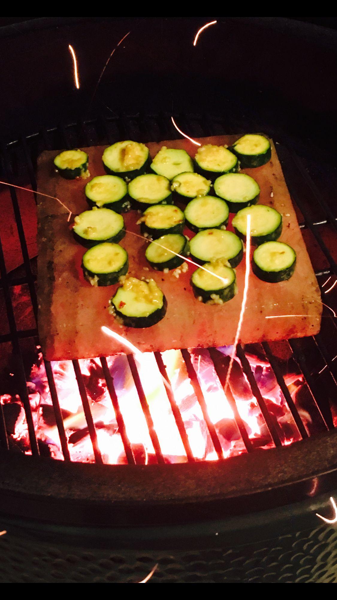Himalayan Salt Block On The Big Green Egg Loved This Zucchini Himalayan Salt Block Recipes Salt Block Recipes Salt Block Cooking