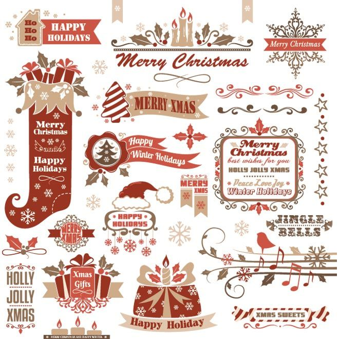 vintage christmas labels Free Vector Merry Christmas