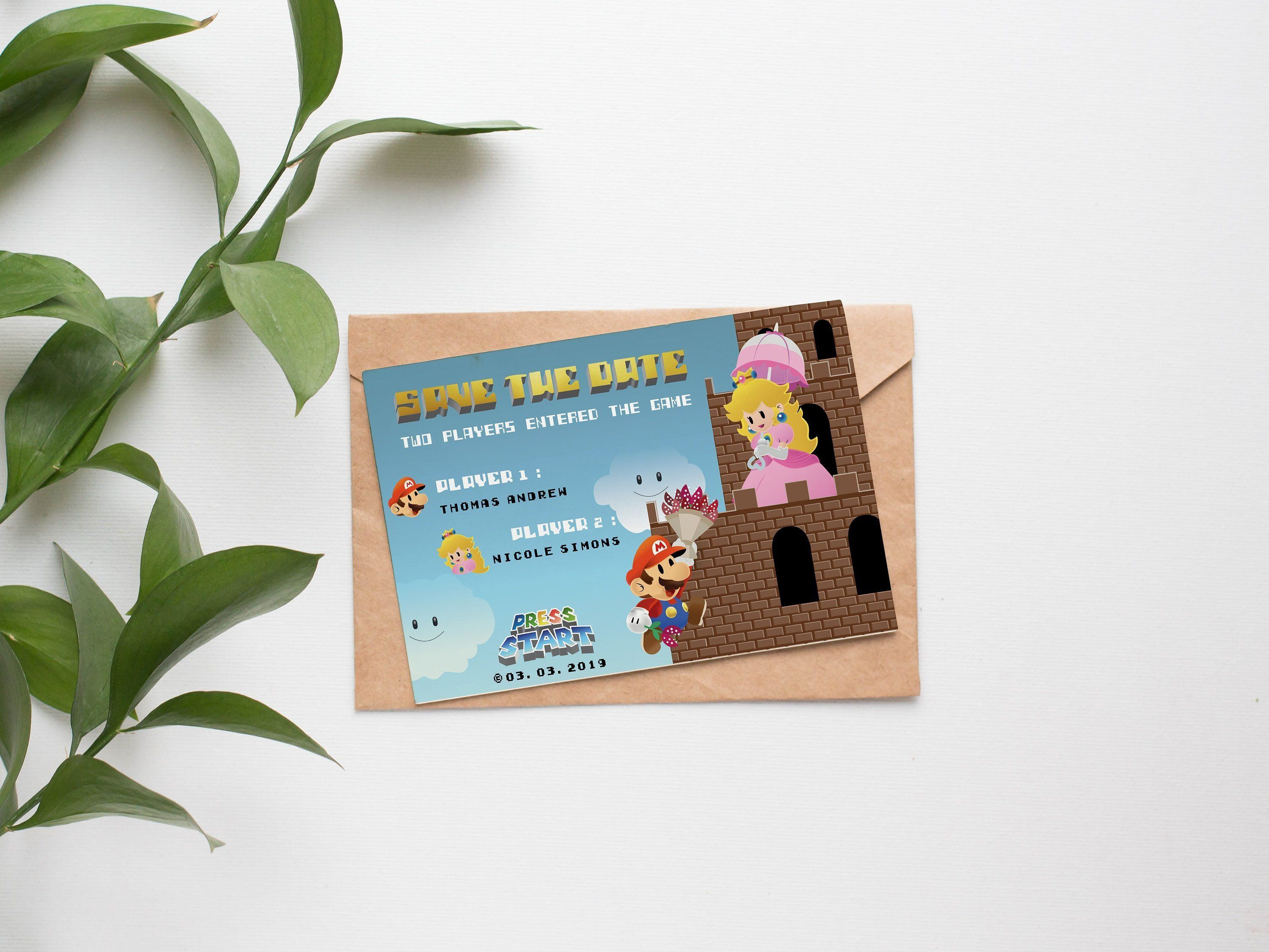 PRINTABLE Mario Wedding Invitation template | Video game wedding invitation | Mario and Peach | Geek wedding invitation Save the date
