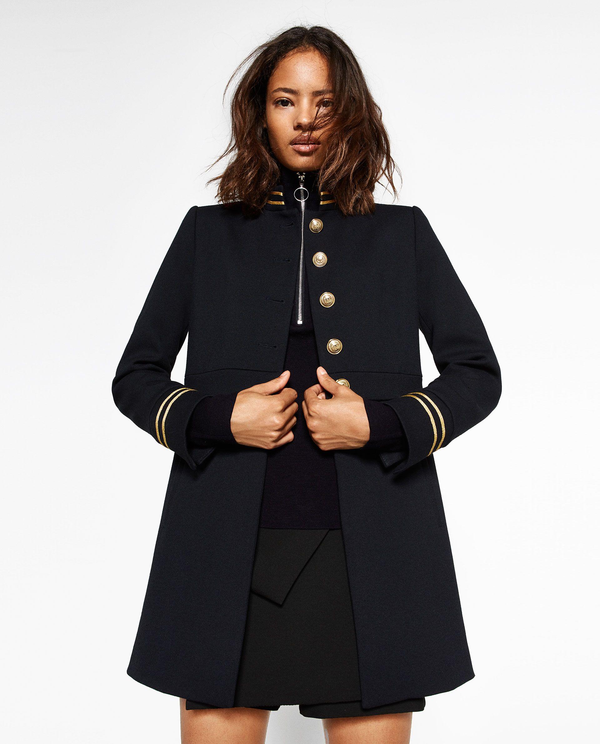 ZARA WOMAN MANDARIN COLLAR FROCK COAT | Chaqueta militar