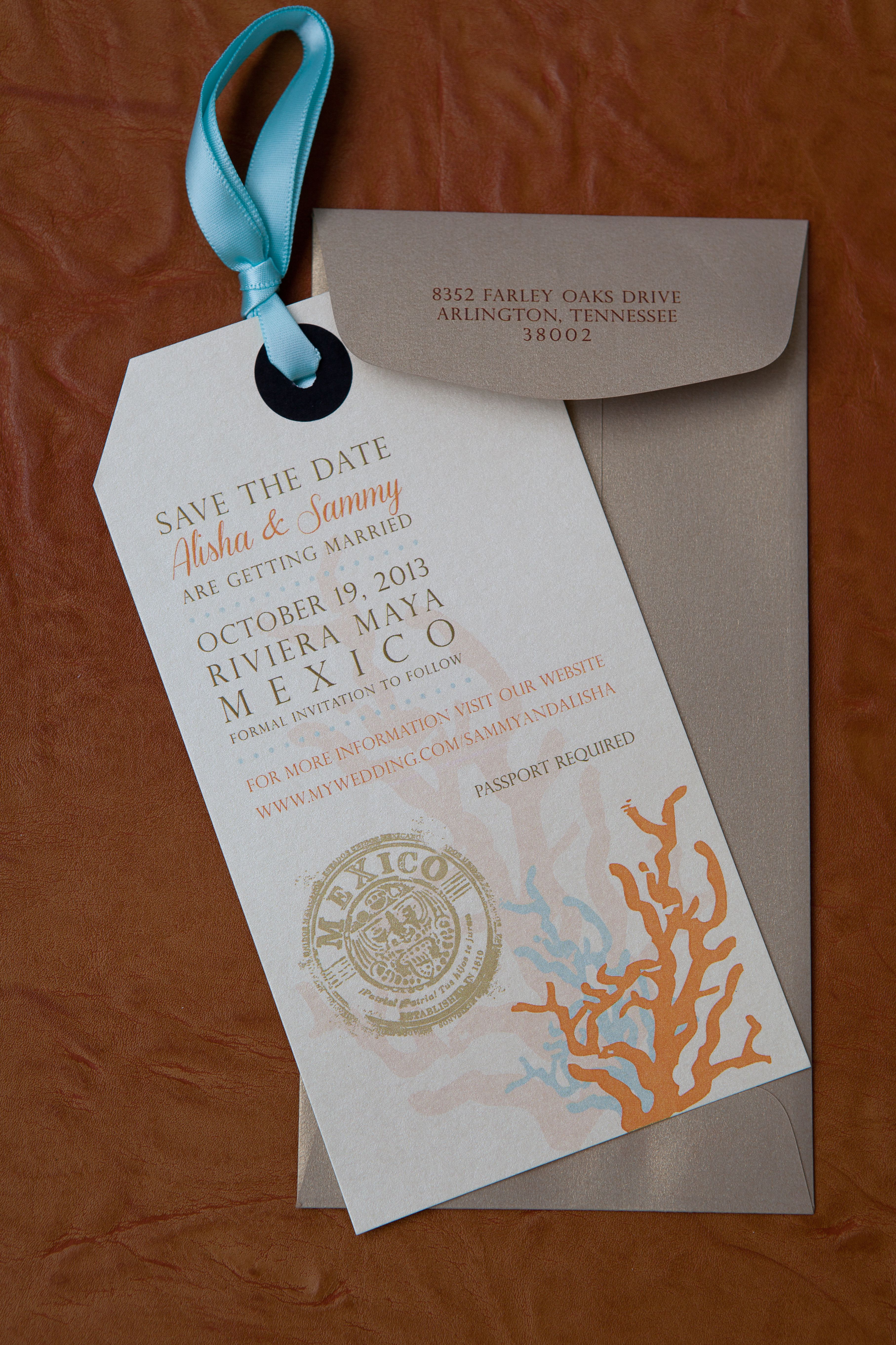 destination wedding invitation rsvp date%0A Luggage Tag style Save The Date  Destination Wedding  by  www thefrenchconnectionevents com