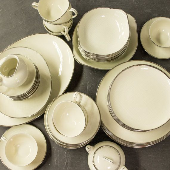 Vintage Formal Dinnerware Set - Thanksgiving Dinner - Moonlight Nunome Japan China - Platinum Trim - : formal dinnerware - pezcame.com