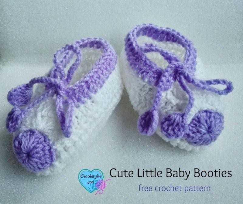 Cute Little Baby Booties - free crochet pattern | Bebé lindo ...