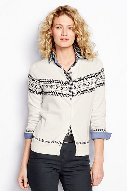 Women's Supima Fair Isle Cardigan Sweater from Lands' End ...
