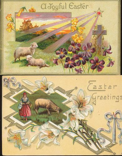 2 Easter Crosses with Lambs, Scenes & Flowers Antique Postcards Lot-ccc272