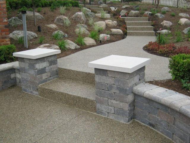 Brick Garden Wall With Exposed Aggregate Walkway Brick Garden Lawn And Garden Backyard Landscaping