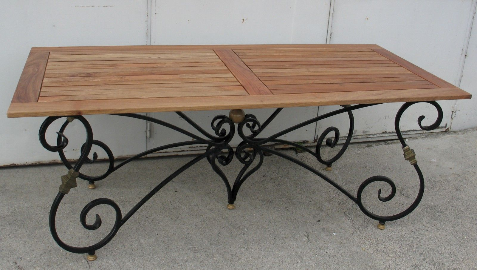 Dining Table With Base In Black And Gold Wrought Iron With Openwork Teak Tray Wrought Iron Table Legs Wrought Iron Dining Table Wrought Iron Table