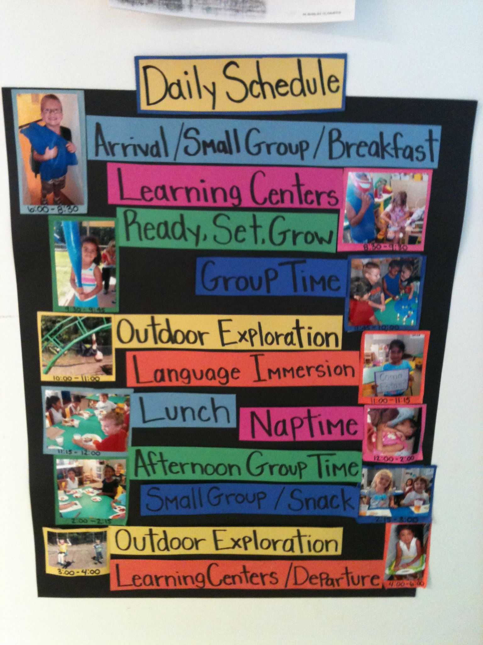 Daily Picture Schedule Rainbow Child Care Center