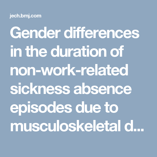 Gender Differences In The Duration Of Non Work Related Sickness