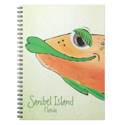 Salty Sam Adorable Fish Art - Sanibel Island Notebook -nature diy customize sprecial design