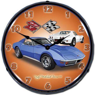 C3 Corvette Stingray Lighted Clock Chevy Mall Super Voiture Voiture Pendule