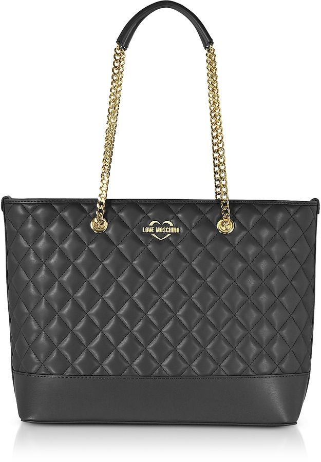 0216a51920e1 Love Moschino Black Superquilted Eco-Leather Tote Bag  166.80 ...