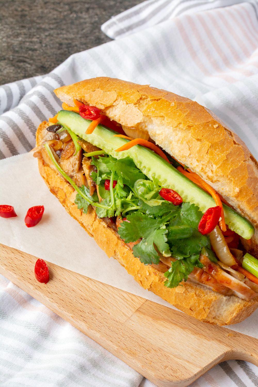 Vietnamese Bread Roll Banh Mi With Chicken Recipe Chicken
