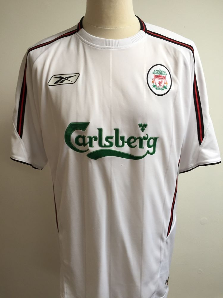 ca7501924 LIVERPOOL 2003-2004 Reebok Away Football Shirt Size L Large WHITE ...