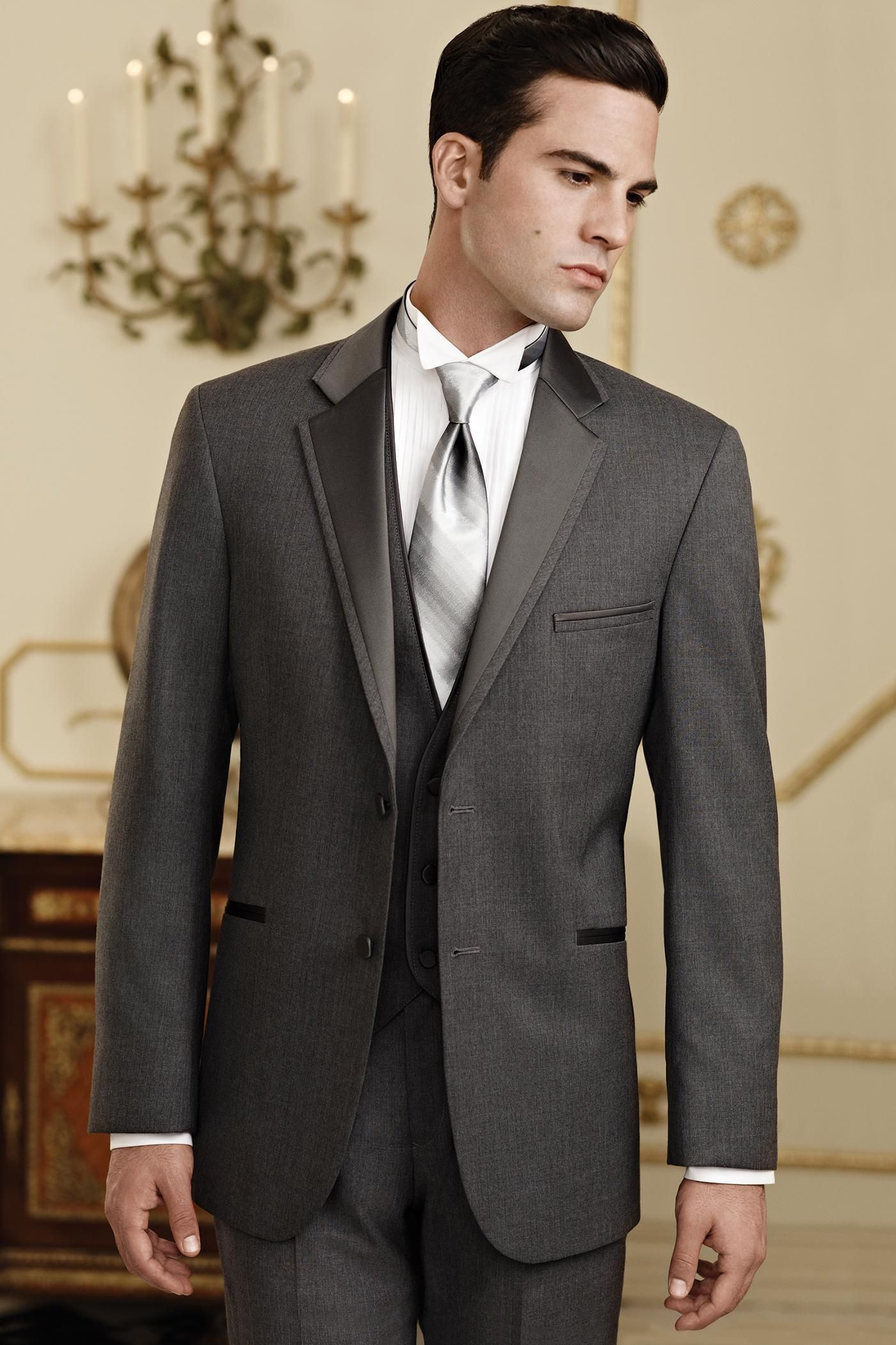 Cheap Dark Grey Notch Lapel Single Breasted Groom Tuxedos ...