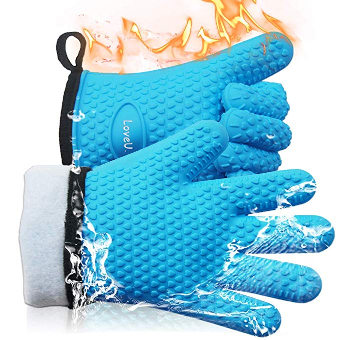 Amazon Com Loveu Oven Mitts Silicone And Cotton Double Layer