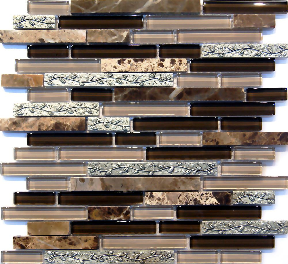 Wholesale vitreous mosaic tile crystal glass backsplash kitchen penny - Sample Leaf Insert Dark Emperador Crystal Glass Blend Mosaic Tile Backsplash In Home Garden