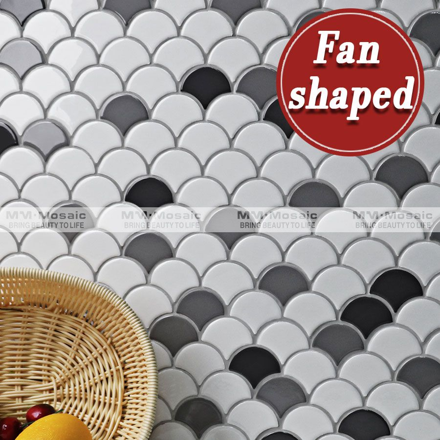 Tile Decorations Unique Mm Mosaic Wall Decoration Glossy White Mixed Grey Fan Shaped Decorating Inspiration