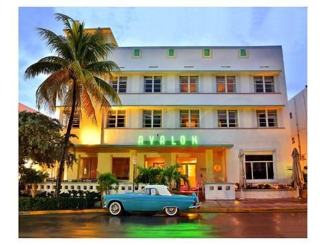 Ford Thunderbird Classic Car in front of the Avalon Hotel, Ocean Drive Premium Giclee Print by | Art.com