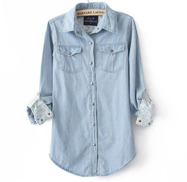 Light Blue Denim Shirt For Women | Blue denim shirt, Denim shirt ...