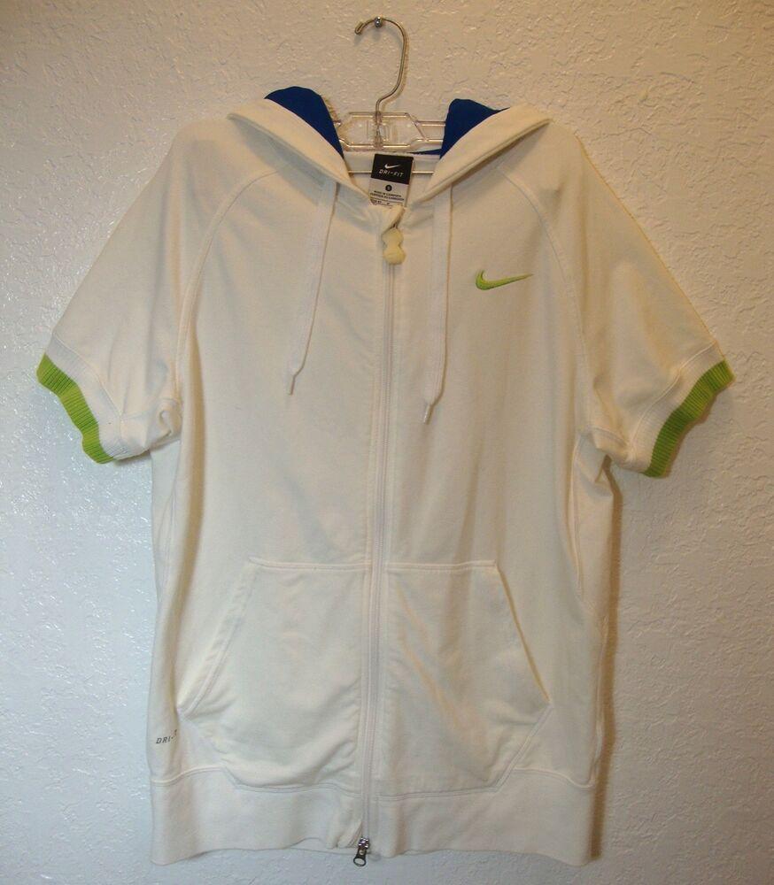 Nike drifit hoodie short sleeve full zip jacket white