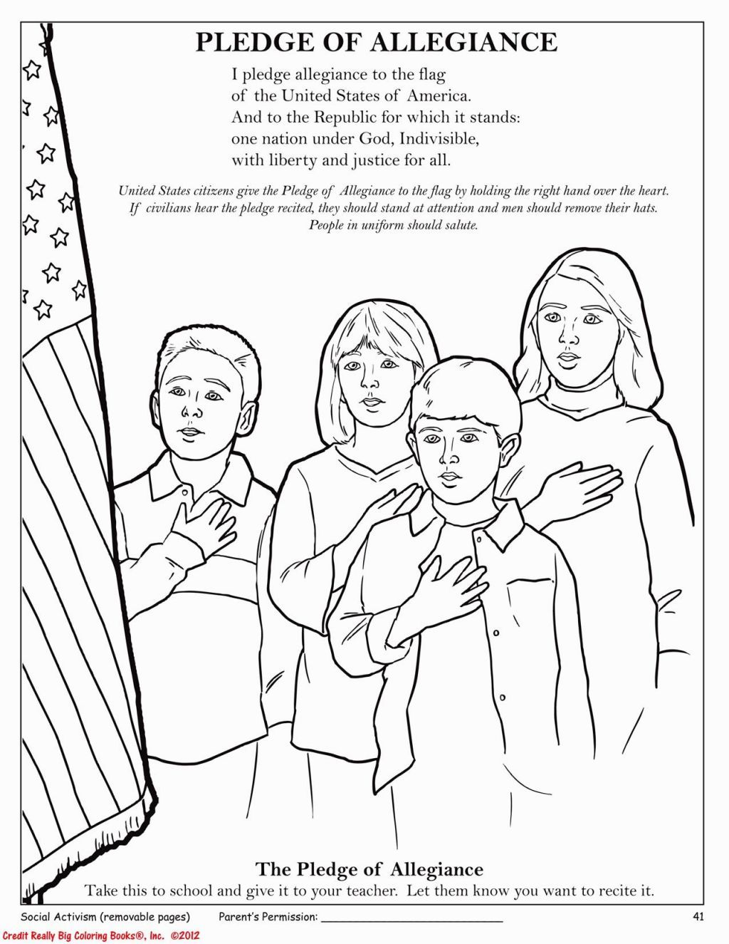 Pledge Of Allegiance Coloring Page Coloring Pages