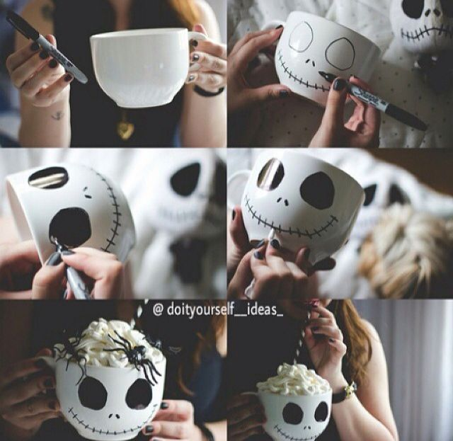 Draw a face on a mug DIY Pinterest - decorate cubicle for halloween