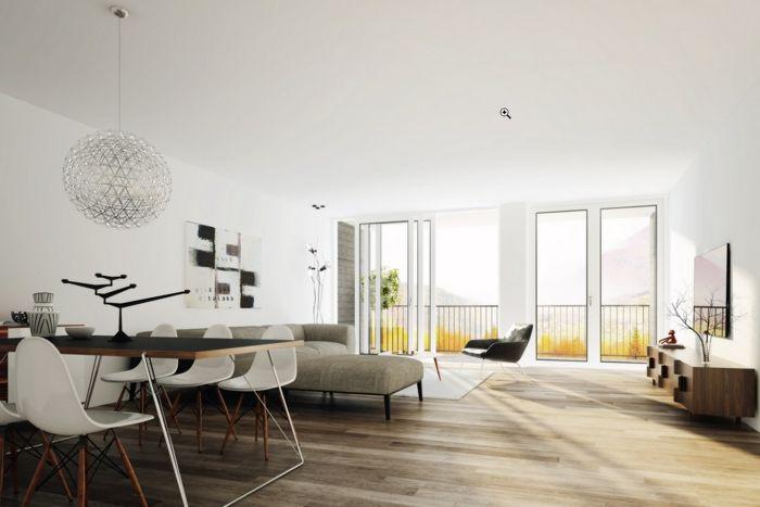 wohnzimmer einrichten beispiele ecksofa essbereich weiße wände q