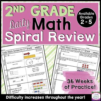 2nd Grade Morning Work | 2nd Grade Spiral Math Review | Year-Long