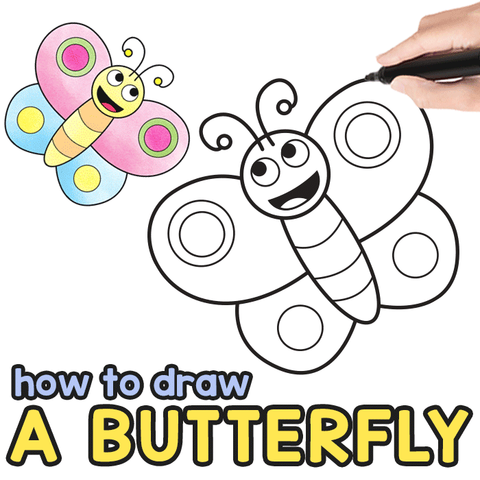 How to Draw a Butterfly Step by Step for Kids + Printable ...