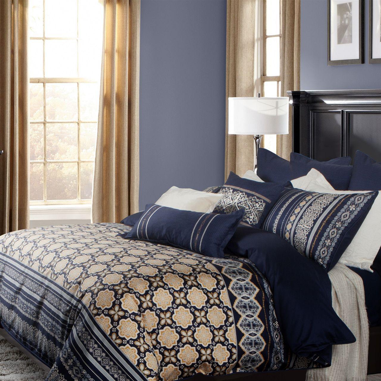 Designer Linen Designer Bedding Sorrento Collection Bedding Duvet Cover Luxury Bedding Duvet Luxury Bedding Bedding Master Bedroom Blue And Gold Bedroom