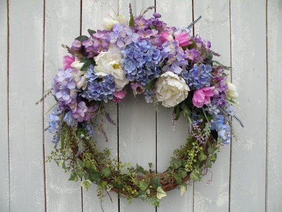 Garden Wreath Hydrangea Wreath Front Door By KathysWreathShop