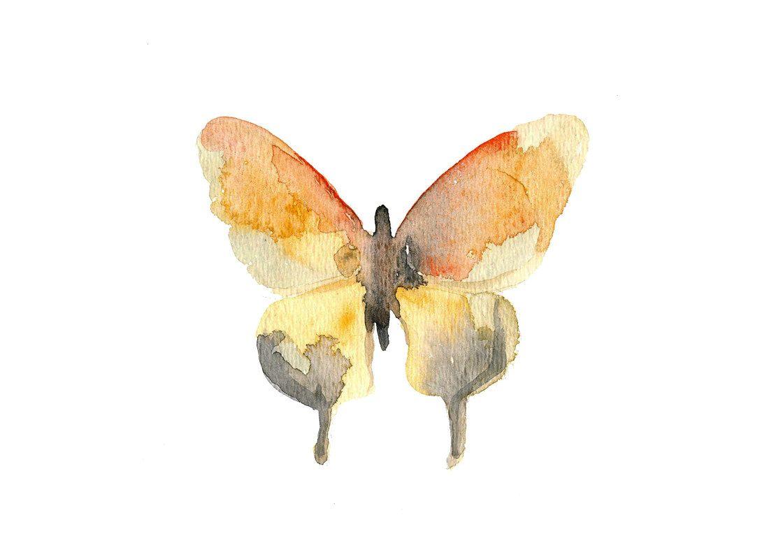 Watercolor Butterfly Art Print. Orange & Gray Butterfly Art. Pastel ...