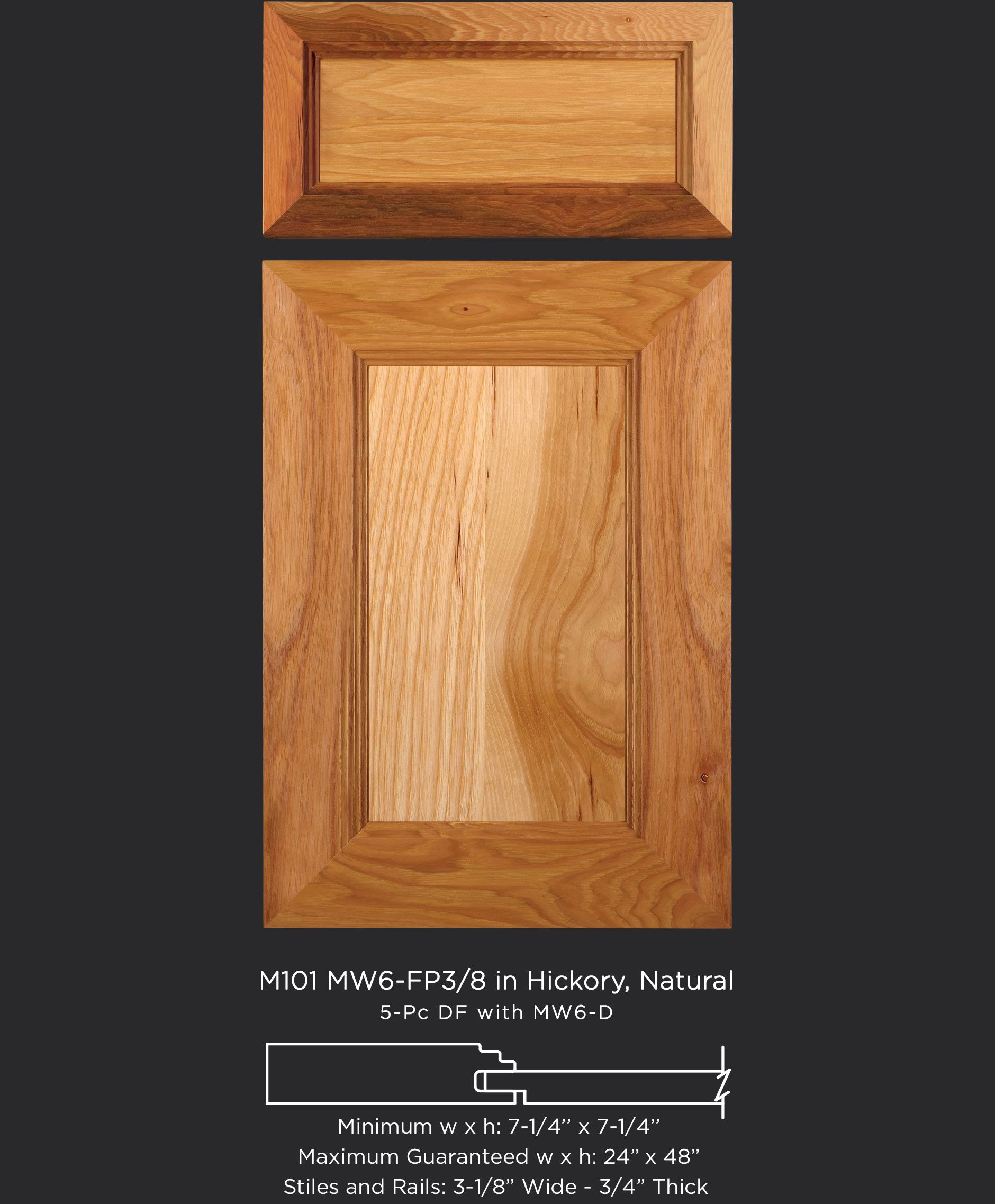 Mitered Cabinet Door M101 Mw6 Fp38 In Hickory Natural And 5 Piece