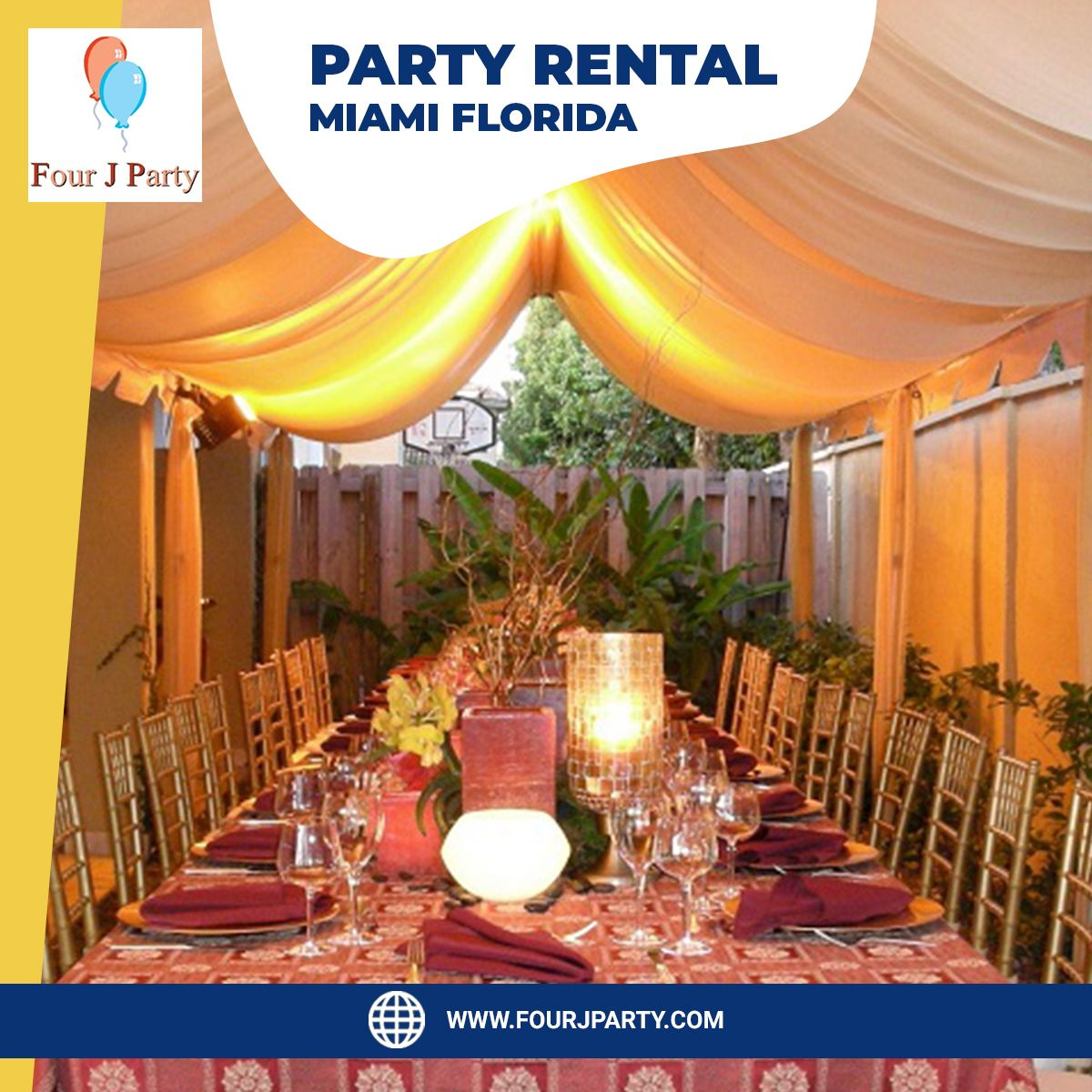 Four J Party has provided tent rentals, event rentals