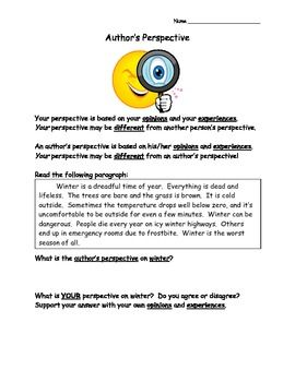 Author S Perspective 6 Worksheets Authors Perspective Authors