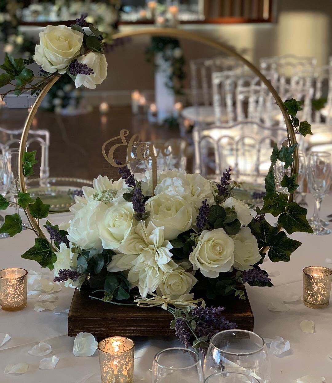 Wedding Chapel Decoration Ideas: Hoop Centre Piece. Ideal For DIY Brides, Florists And
