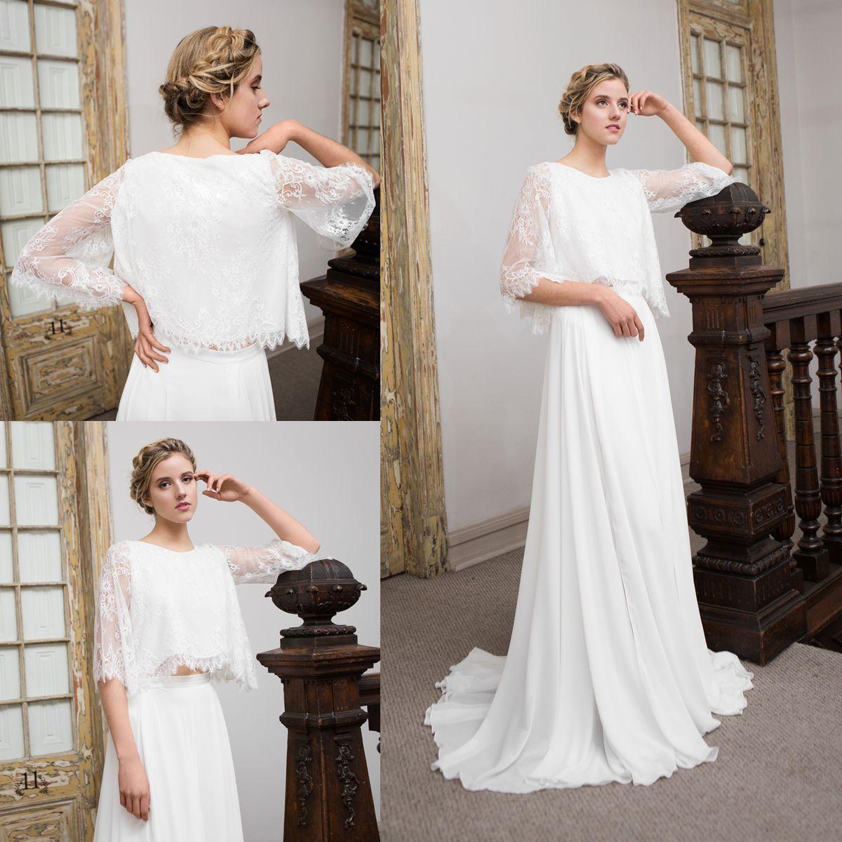 Vestido de novia boho de piezas piece boho wedding dress