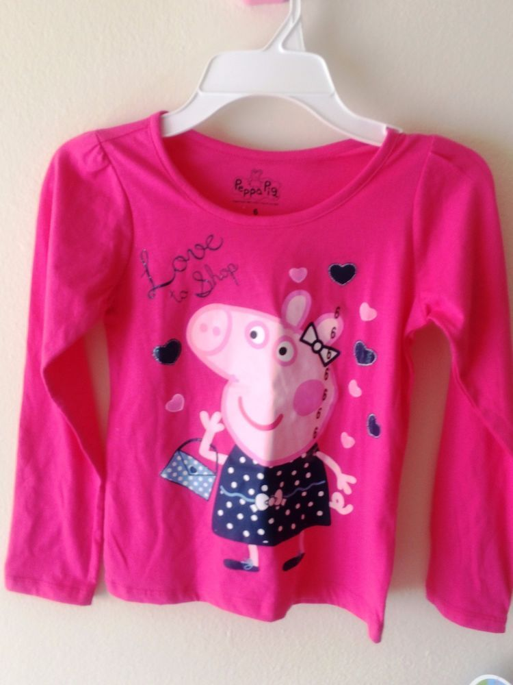 Official Peppa Pig Girls Long Sleeve Top Tees T-Shirt 100/% Cotton 2-8 Years New