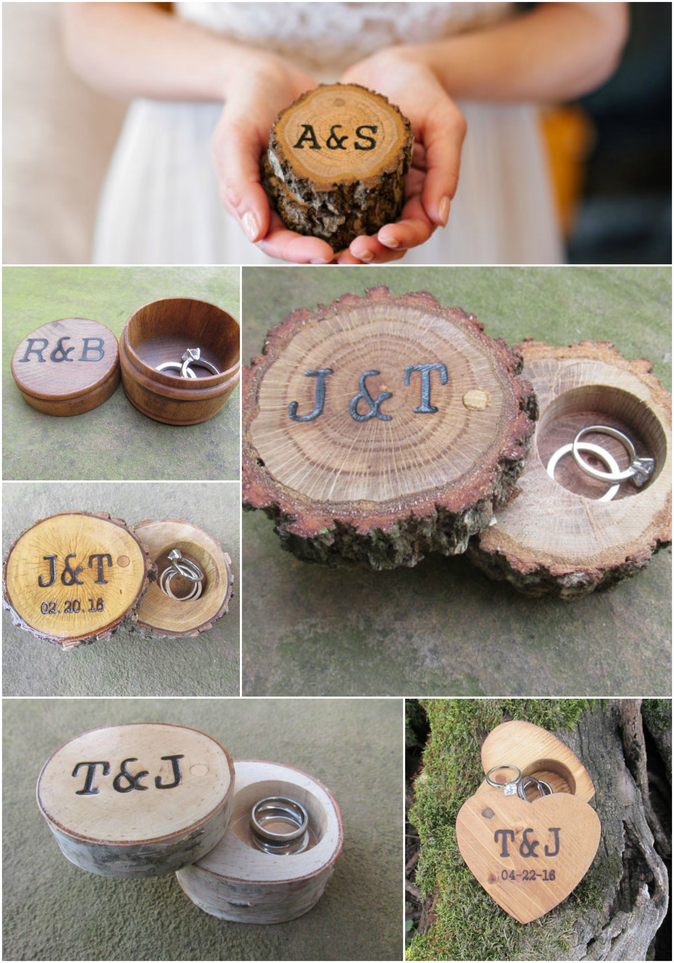 Personalized Rustic Ring Boxes Handmade By Trees2art Wedding