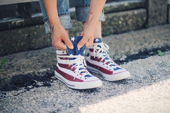 a19da081804c3a Kick Off July 4th Celebrations with These Painted American Flag Sneakers   sneakers trendhunter.com