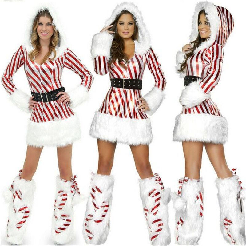 Sexy candy cane Christmas outfit Sizes: S, M, L Gender: Women Material:  Polyester Products include: clothes + belt + gloves Measurements: Bust  80-86 Waist ...