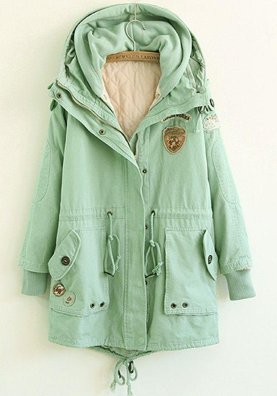 Light Green Plain Drawstring Cotton Blend Padded Coat: absolutely ...