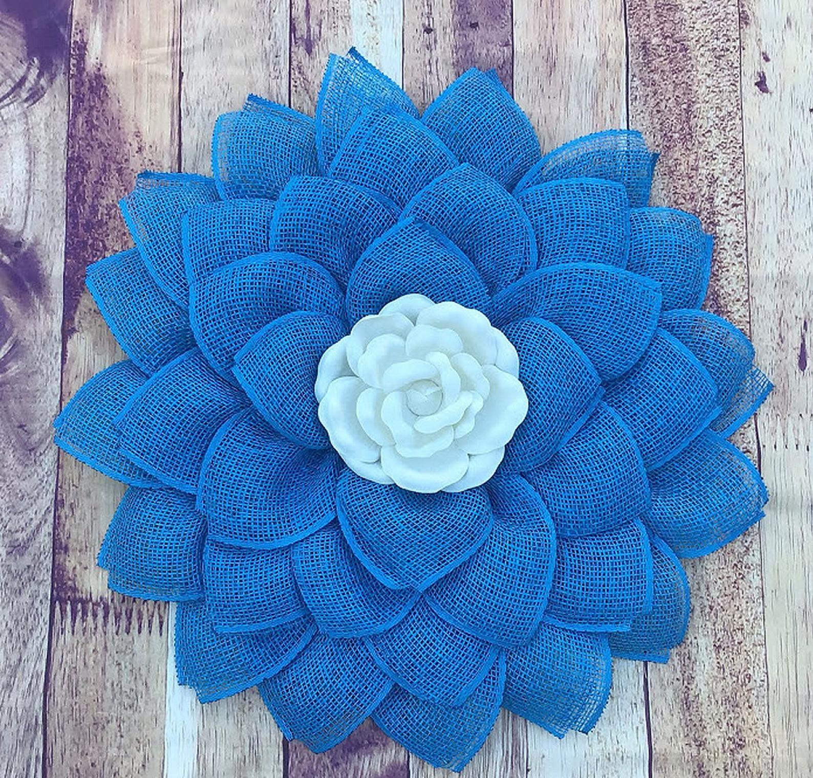 Blue Flower Wreath, Little Boy's Room Decor, Everyday