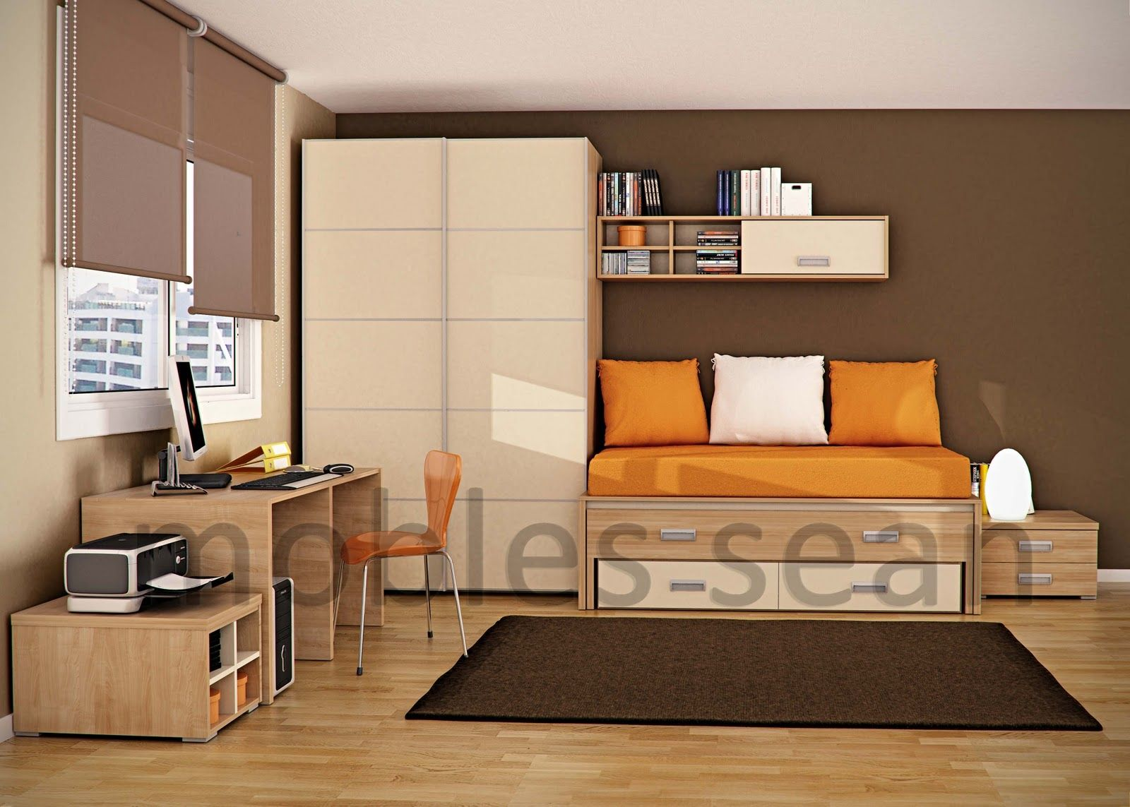 Beautiful Kids Bedroom Designs By Sergi Mengot From Barcelona: Comfortable  Brown Orange Kids Room Great Pictures