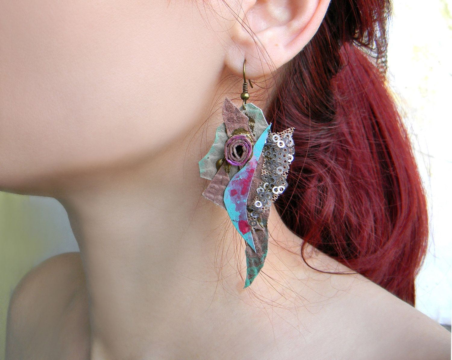 Quirky Huge Earrings Leather and Lace Earrings, Paper ...